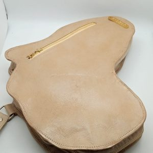 Shape Of Africa Map Beige Leather Bag/Backpack