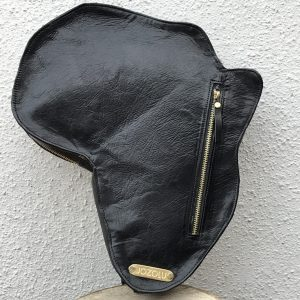Shape Of Africa Map Black Leather Bag/Backpack
