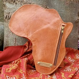 Shape Of Africa Map Brown Leather Bag/Backpack