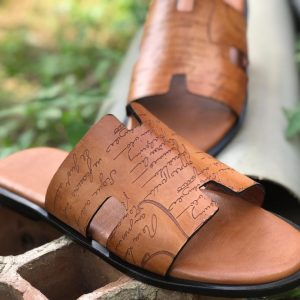 Leather sandals/slippers for Men-Brown